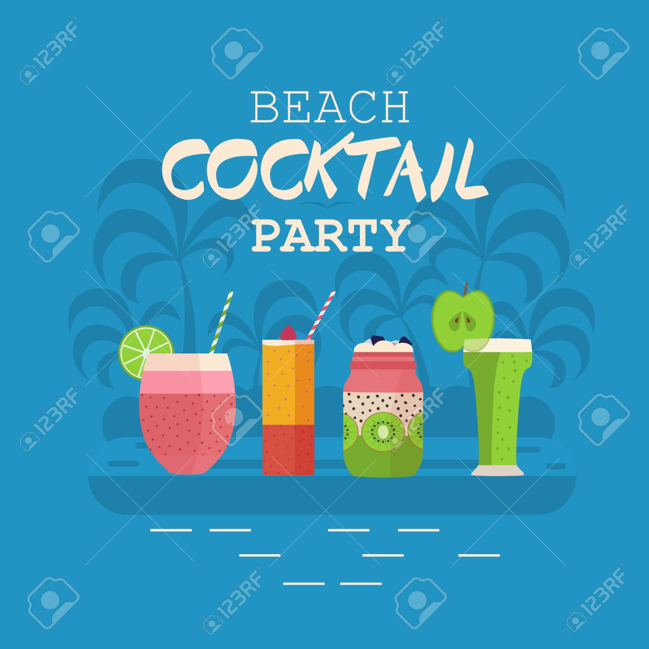 Beach Cocktail Party Invitation Card Or Poster With Smoothies