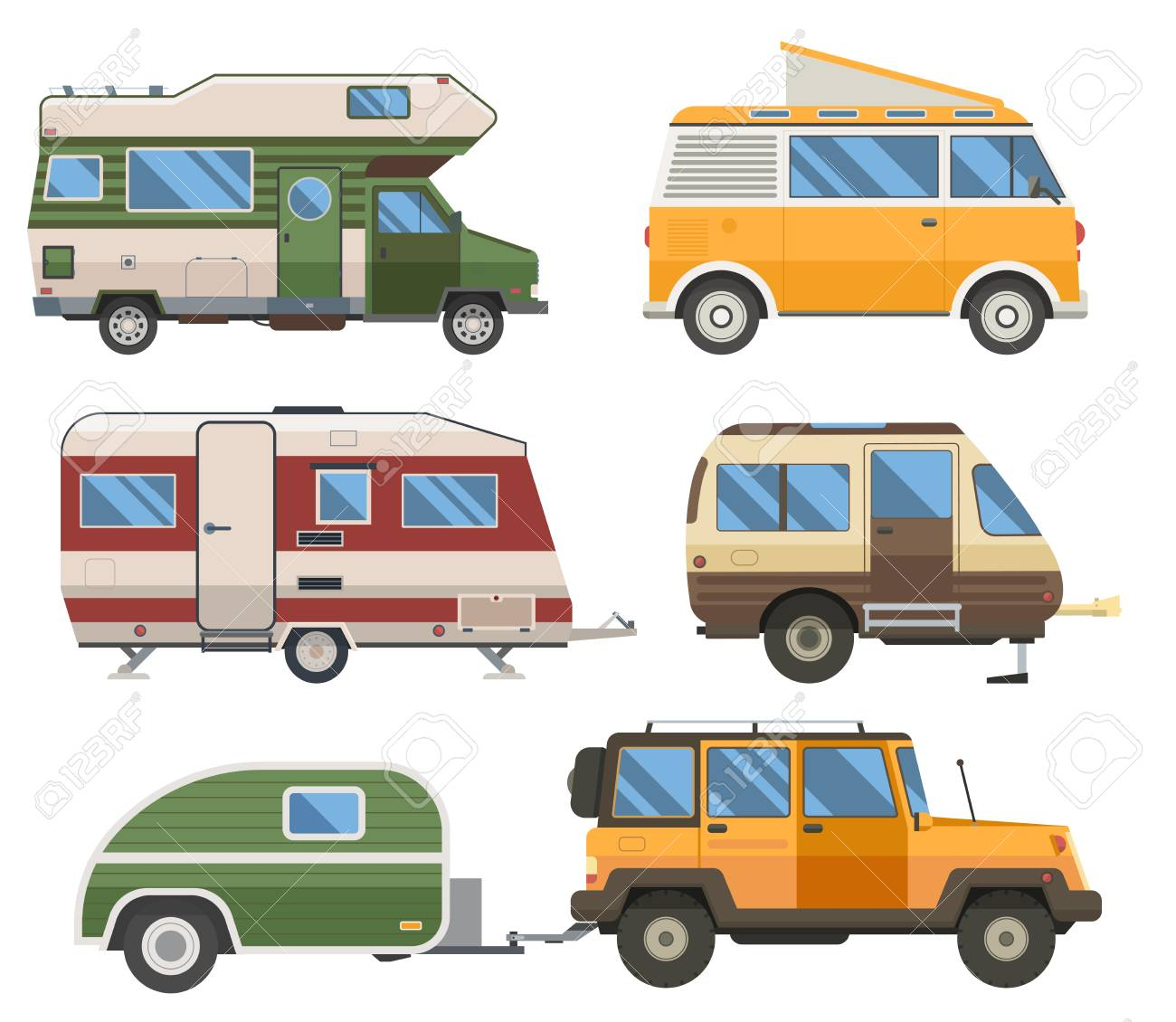 Travel cars collection. Rv campers, camping trailers and caravans set. Road traveler trucks and motorhomes in flat design. - 121826512