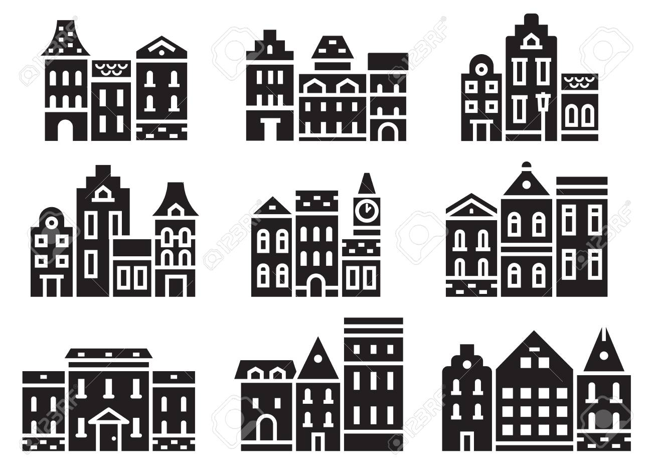 europe street and house icons in outline design scandinavian
