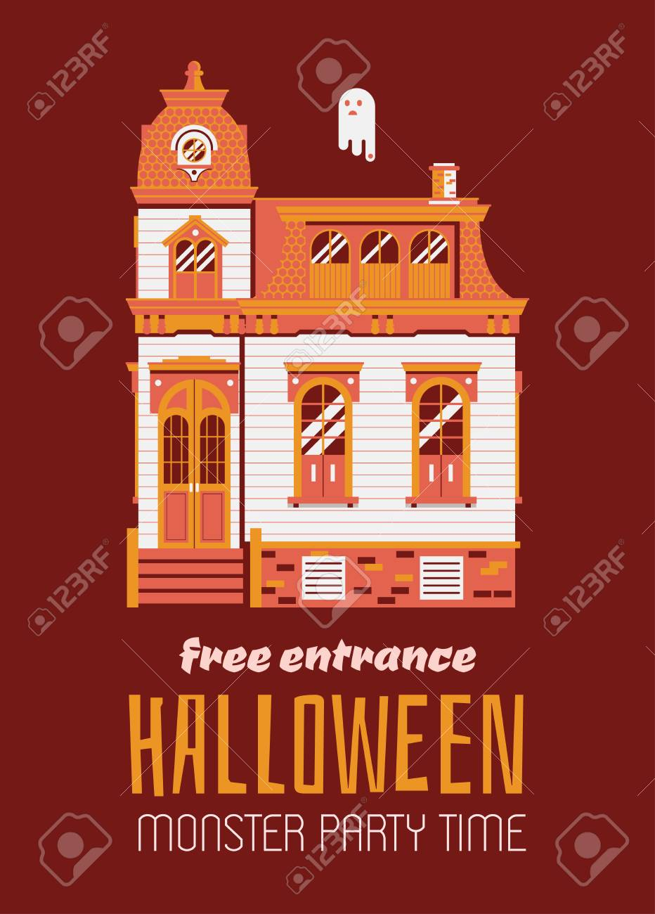 Halloween Night Party Invitation Card With Victorian Mansion And Ghost Vintage Or Flyer
