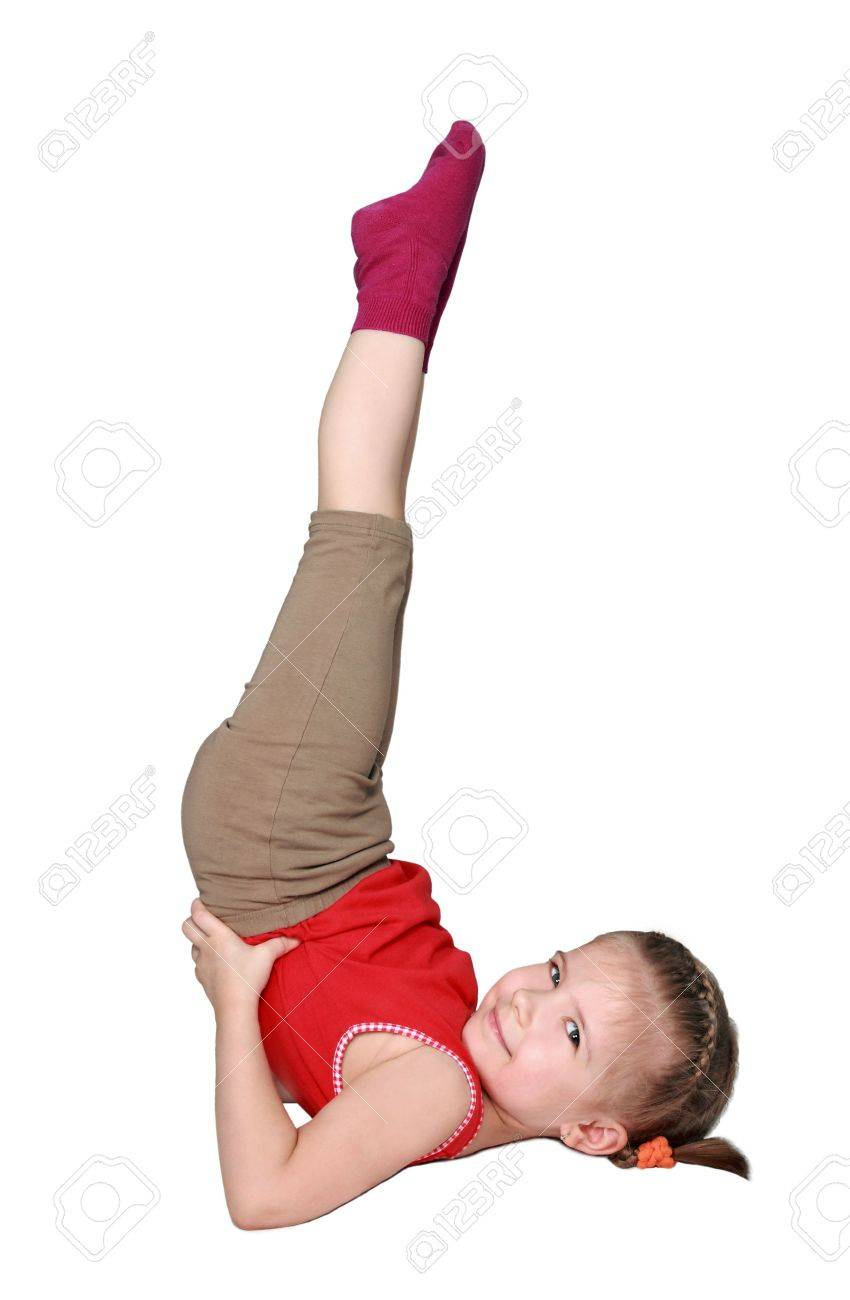e7db5b4c3 The Happy Girl Successfully Carries Out Gymnastic Exercise Stock ...