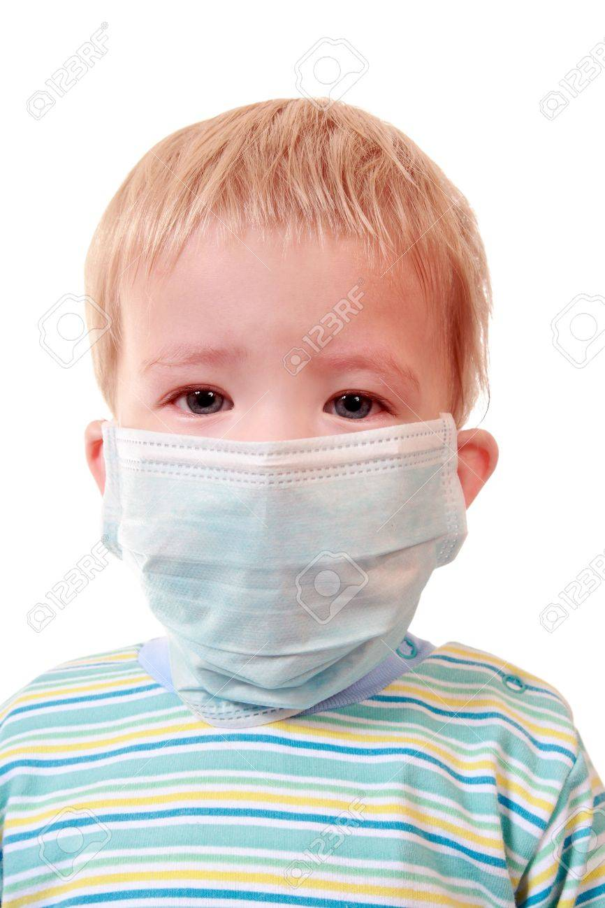 The boy uses a means of individual protection against infection Stock Photo - 5635817