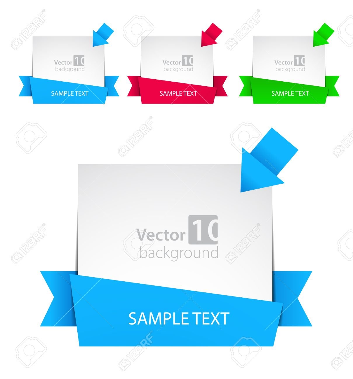 Design vector banner - Vector Banner With Ribbon And Color Arrows Stock Vector 12470322