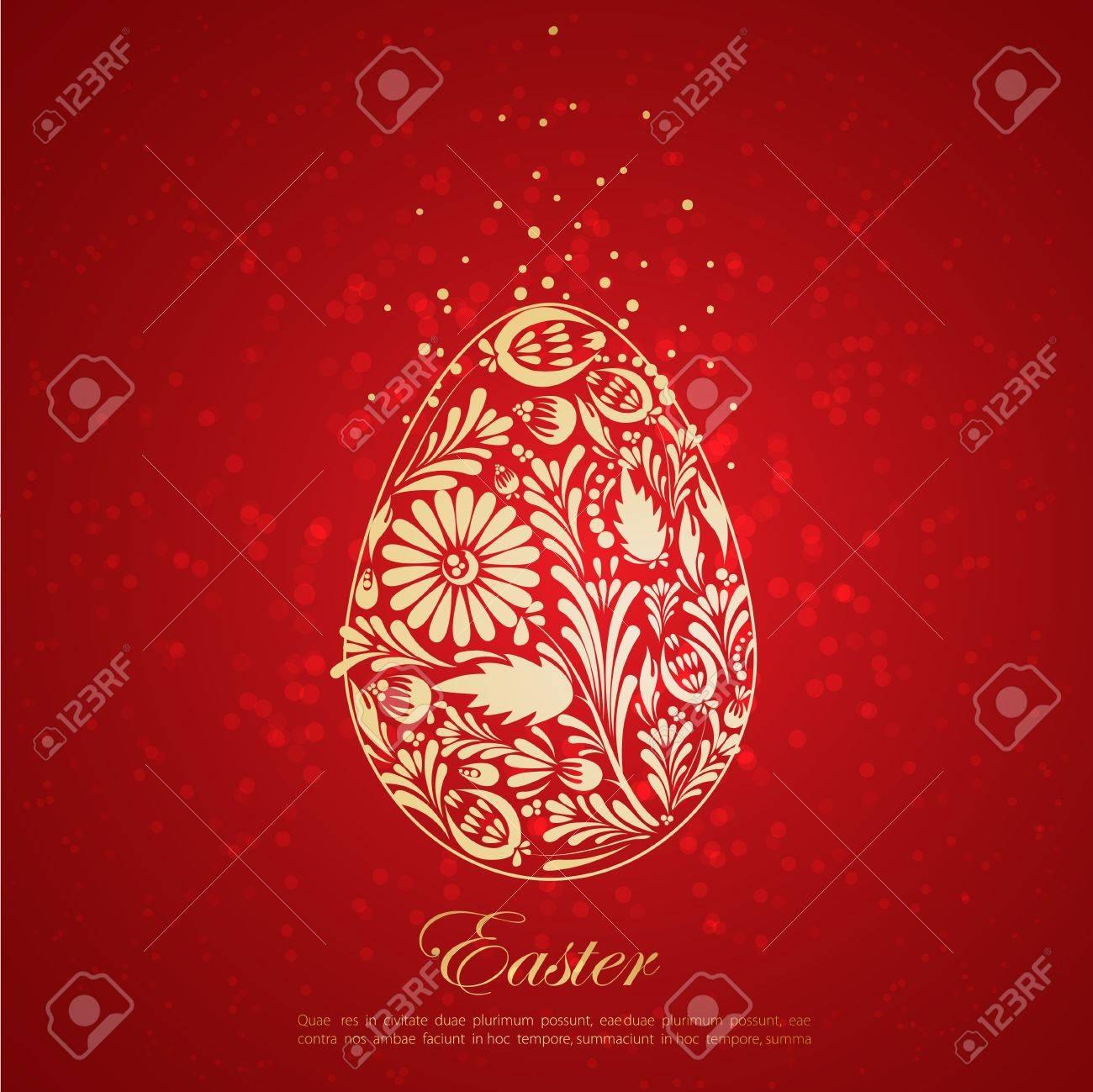 Floral golden easter egg Vector - 12470356