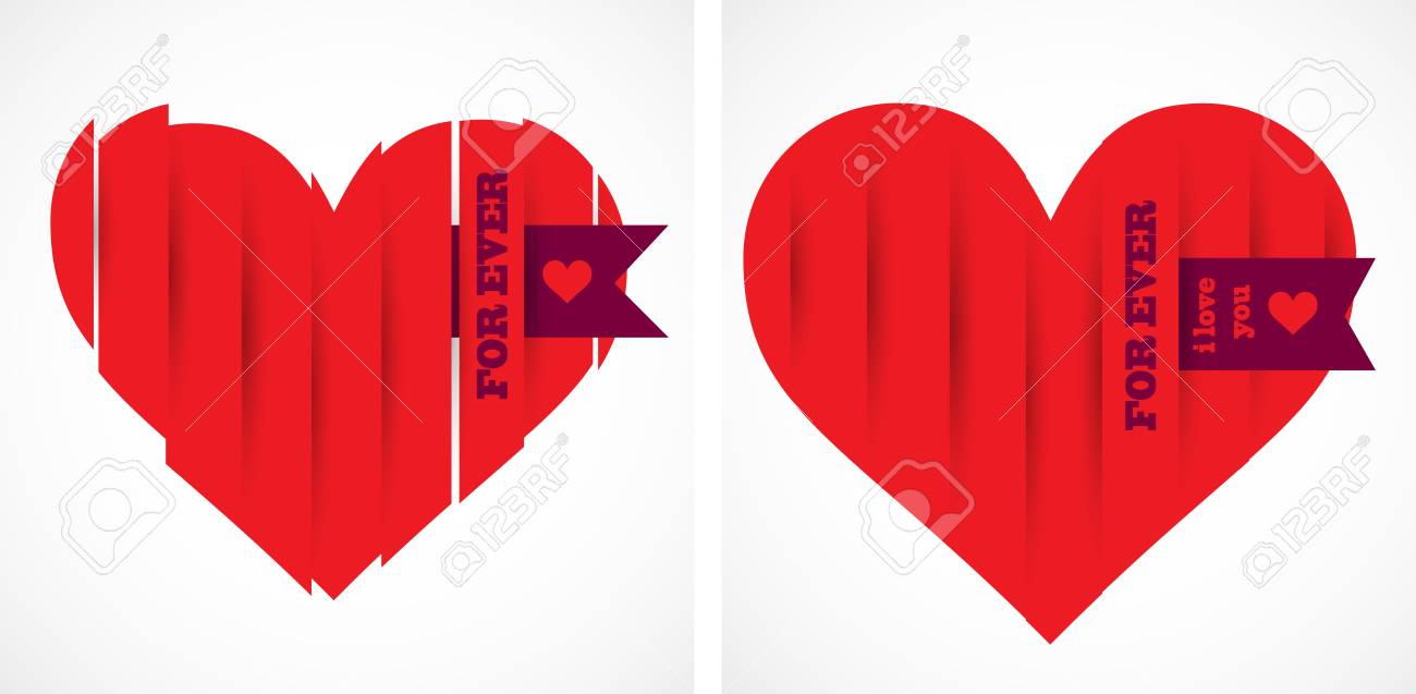 Abstract paper hearts  Vector Stock Vector - 12868252