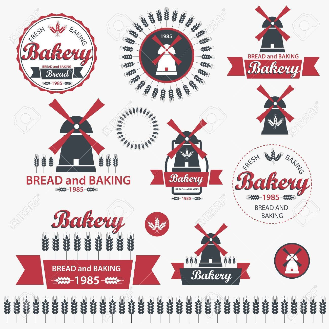 Set of vintage retro elements for bakery Stock Vector - 13009349