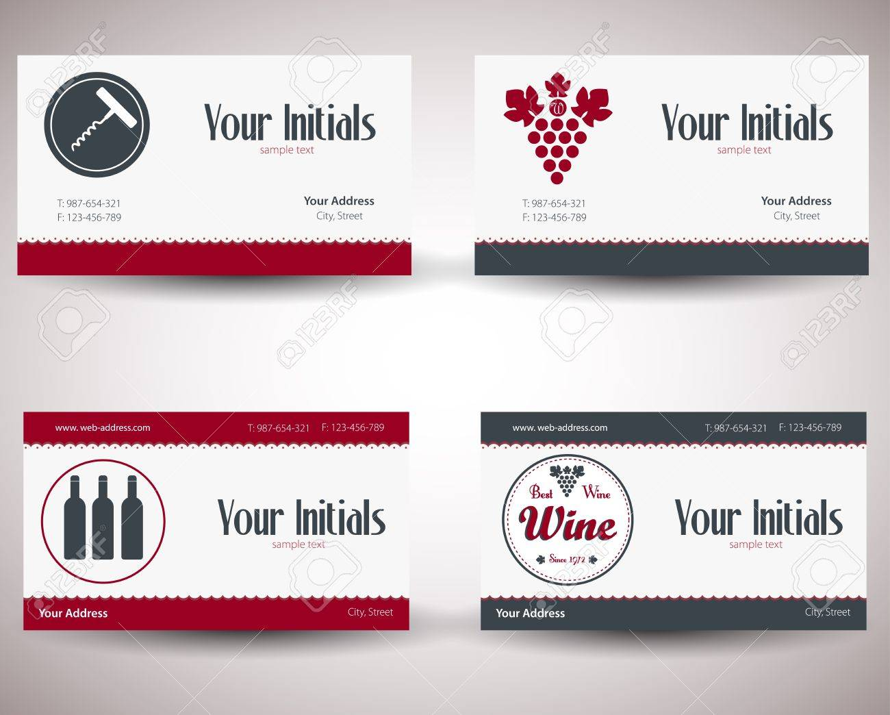 Retro Vintage Business Card For Wine Business. Royalty Free Cliparts ...