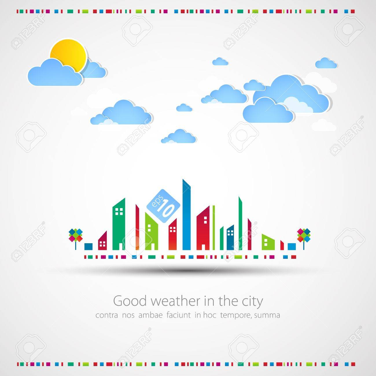 Funny city theme background with sun and clouds Stock Vector - 13722052