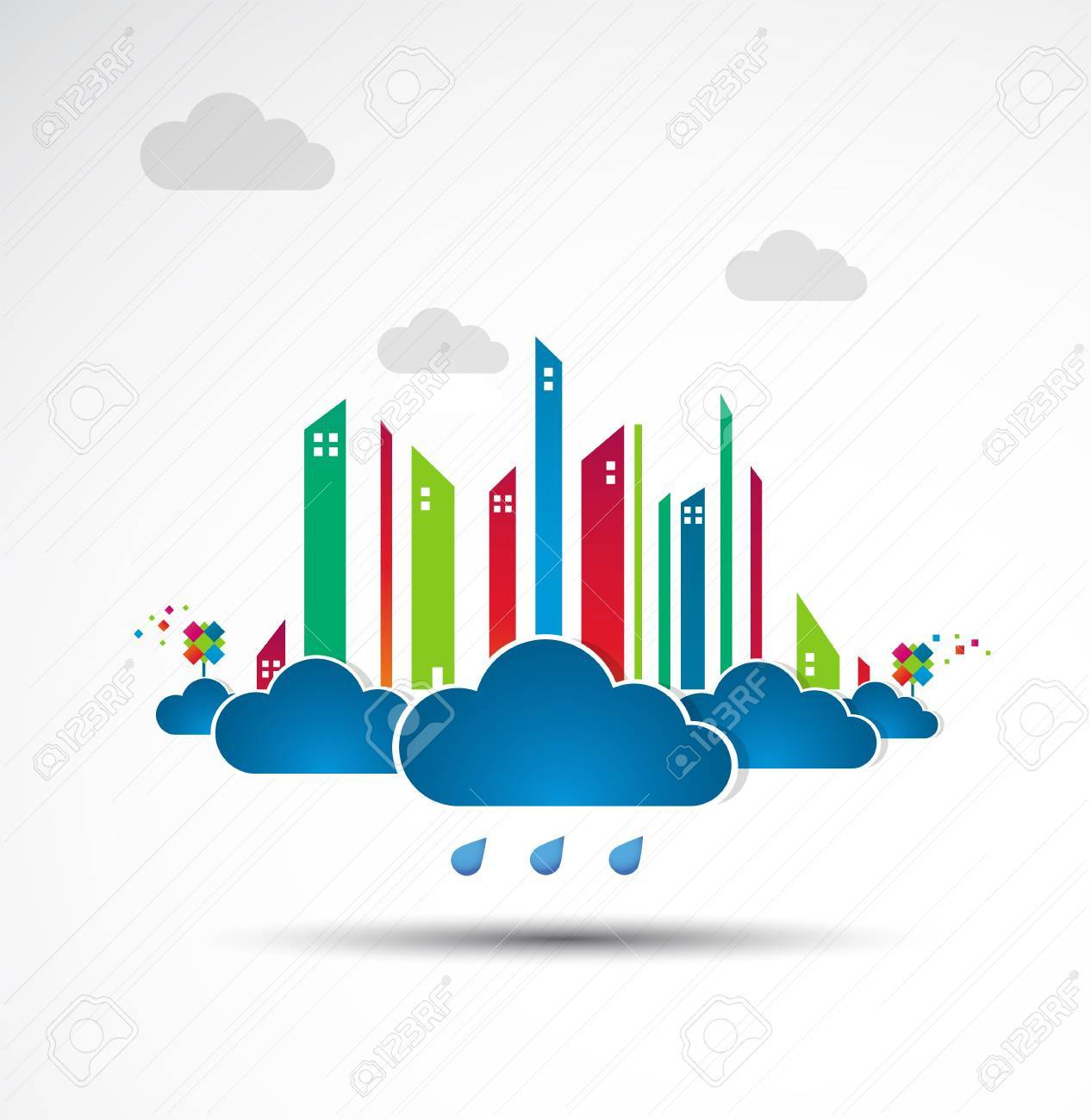 Sky-scraper  City theme background  Bad weather Stock Vector - 14372492