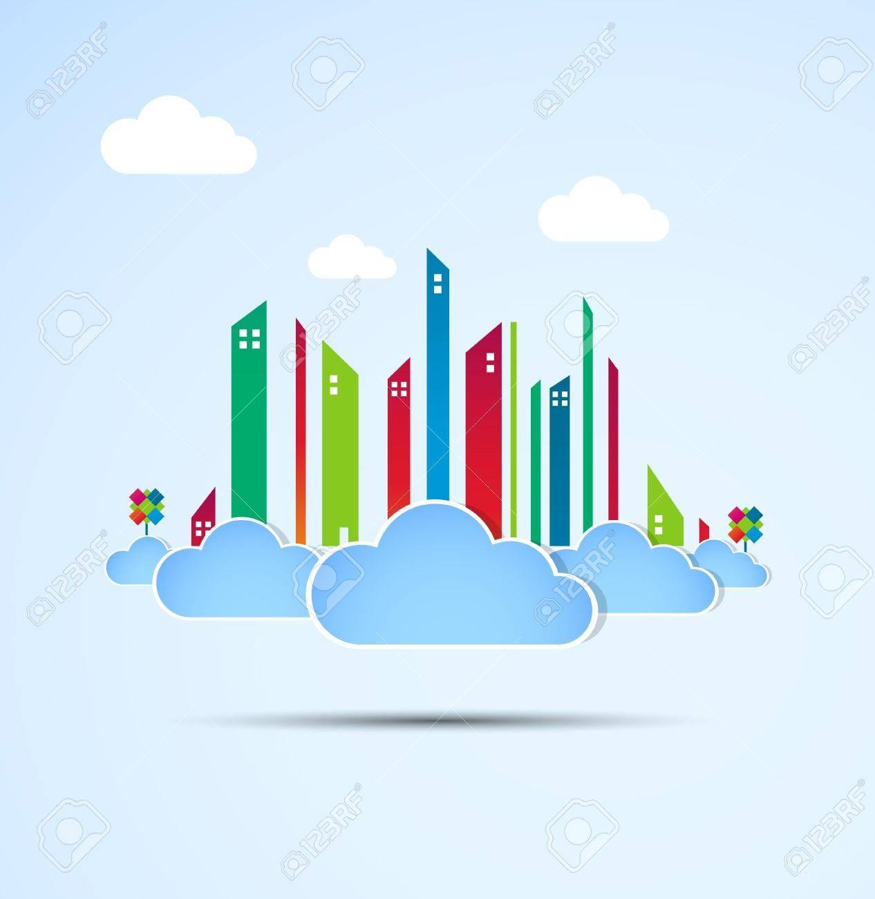 Sky-scraper  City theme background Good weather Stock Vector - 14372488