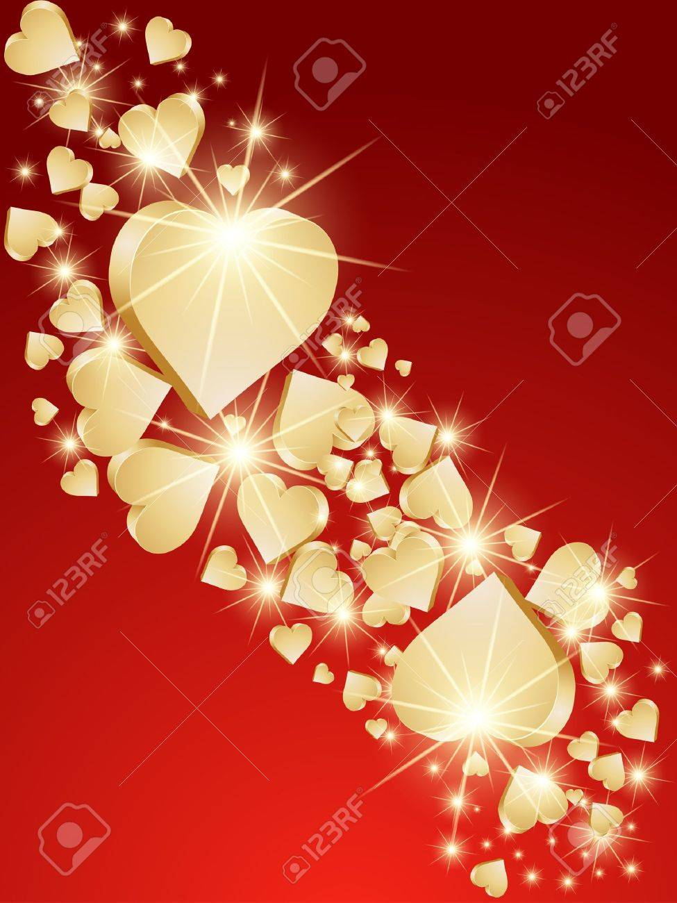 Background 3d golden hearts. Vector Stock Vector - 15251225