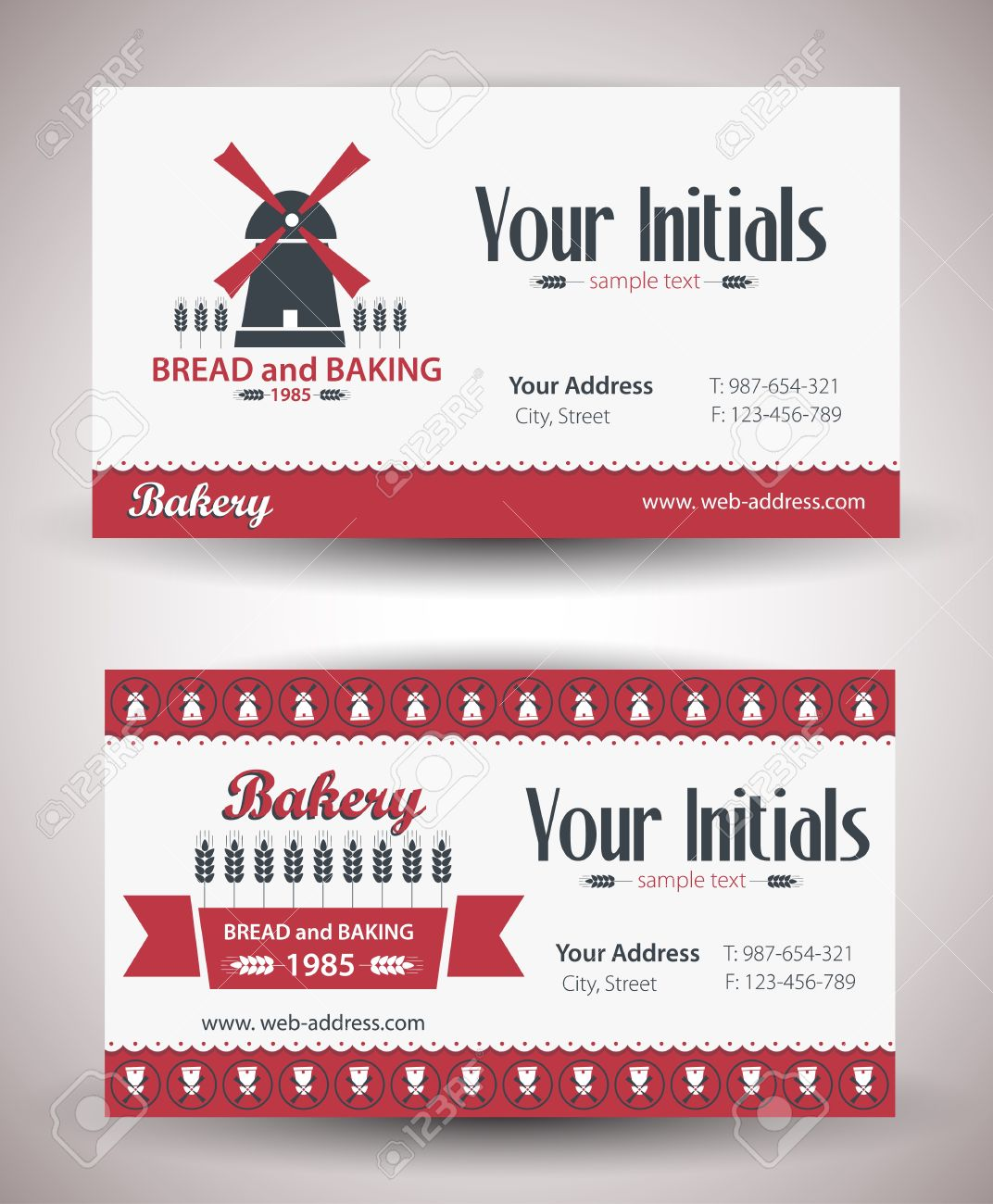 Vector Retro Vintage Business Card For Bakery Business Royalty Free ...