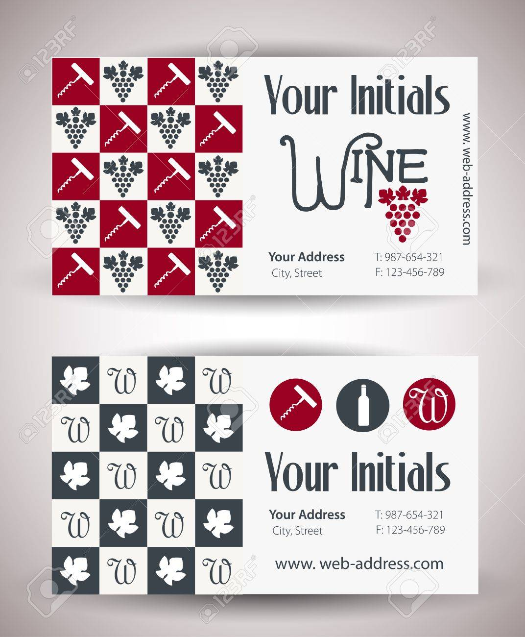 Vector Retro Vintage Business Card For Wine Business Royalty Free ...