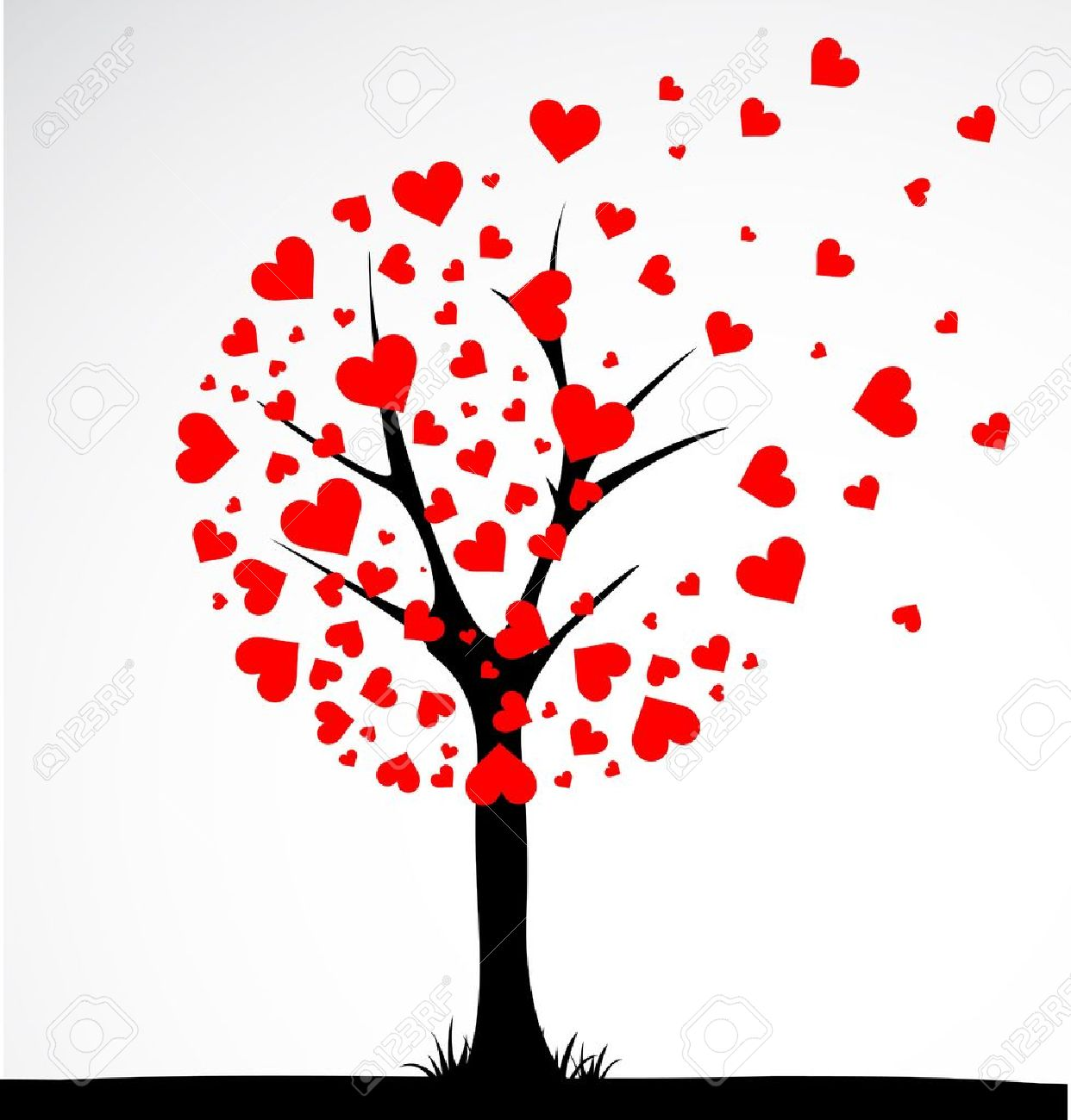 Abstract tree made with hearts. Vector Stock Vector - 16219679