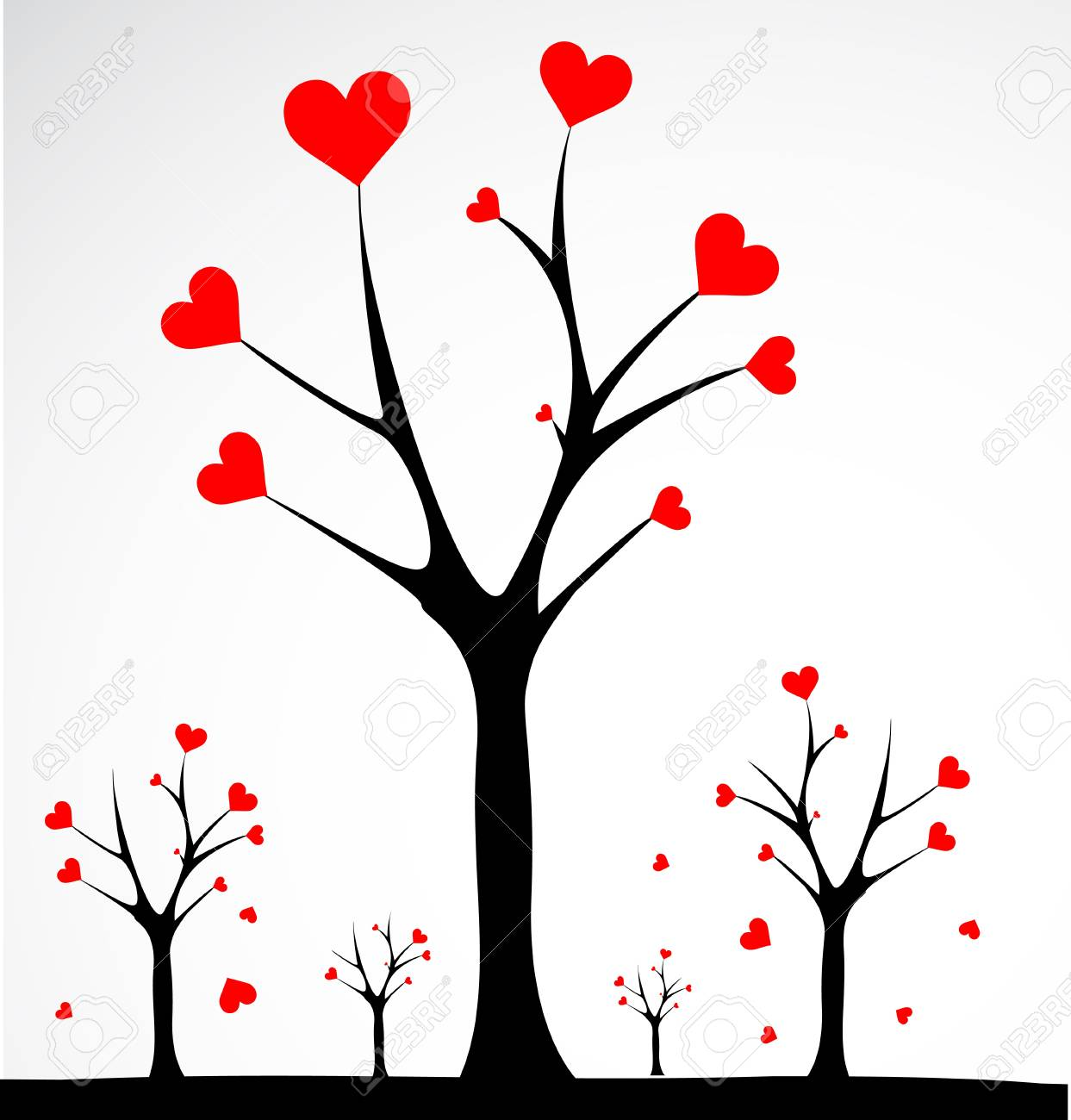 Abstract tree made with hearts. Vector Stock Vector - 16219676