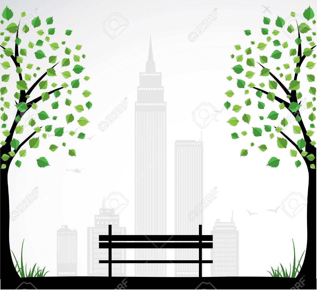 City theme Background with abstract tree. Stock Vector - 16824967