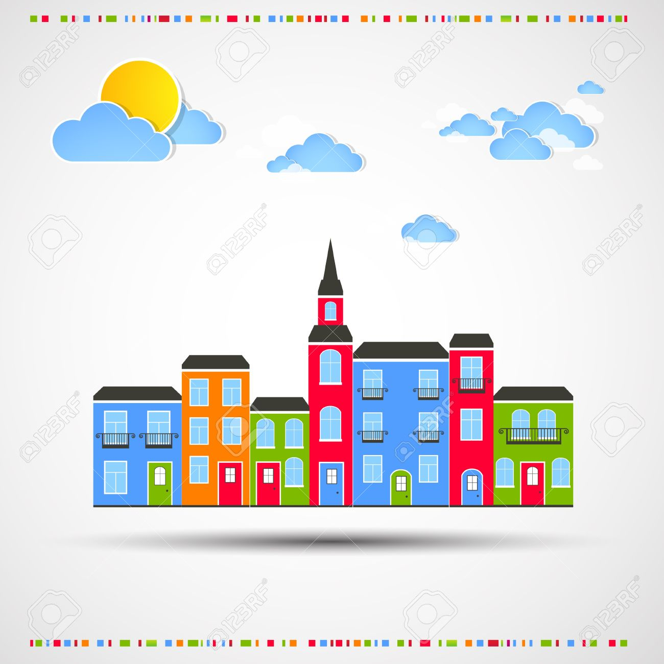 Funny city theme background with sun and clouds Stock Vector - 18236836