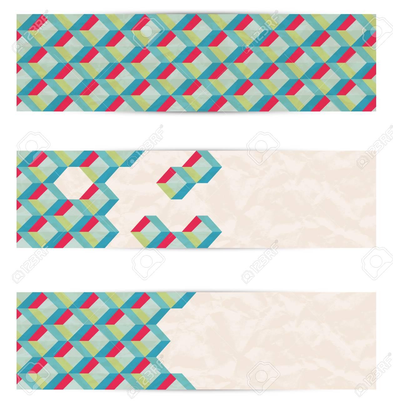 Retor mosaic web banners  Vector Stock Vector - 18428892