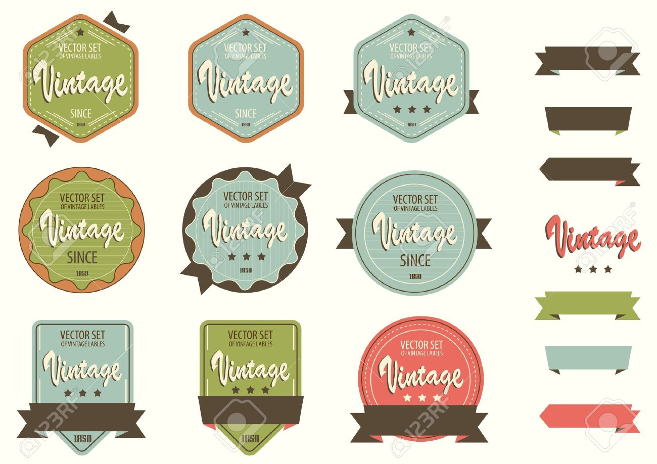 Vintage Labels Template Set Retro Logo Template Design Royalty ...