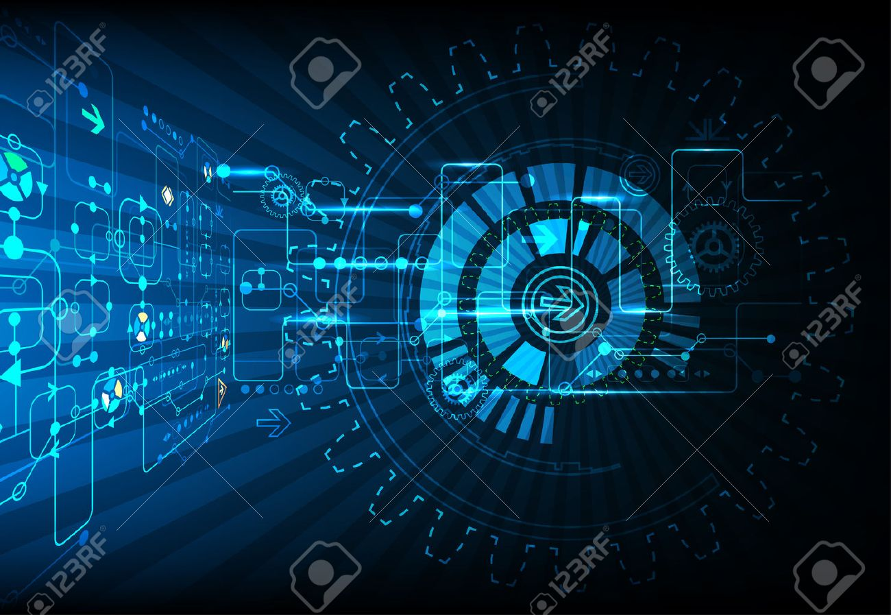 Blue abstract technological background with various technological elements - 41696835