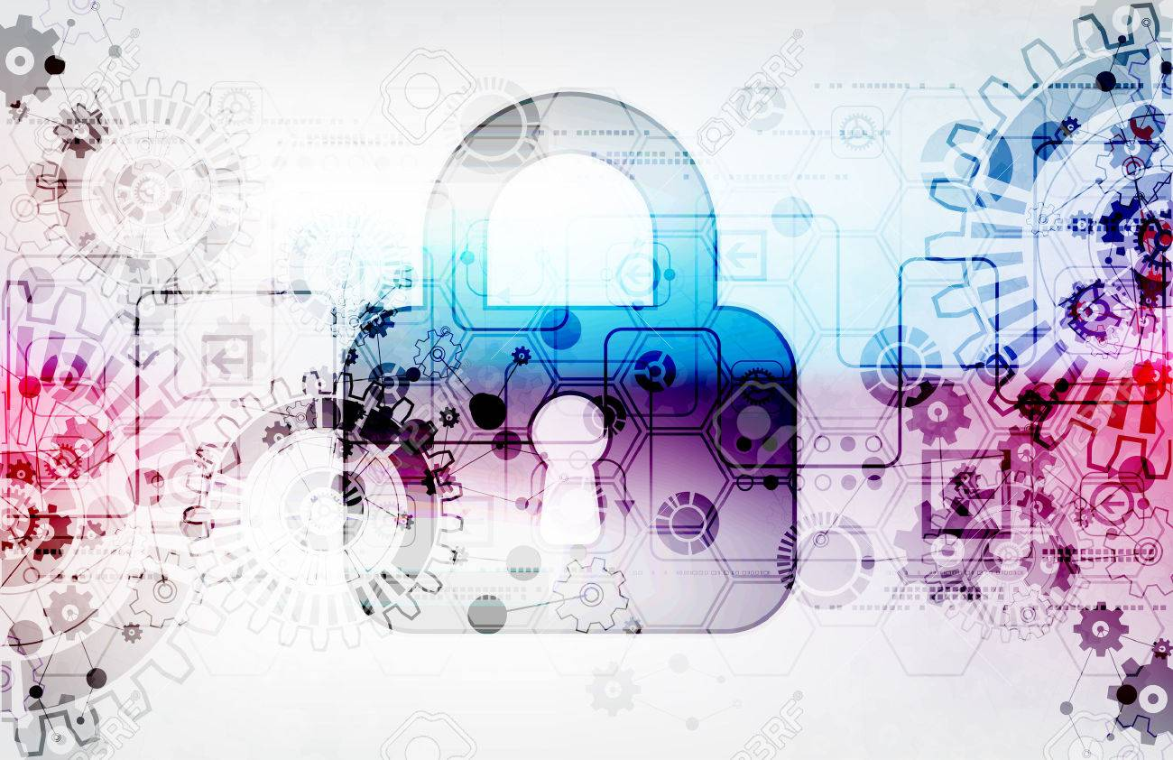 Protection concept of digital and technological. Protect mechanism, gear and keyhole, system privacy, vector illustration - 45725783