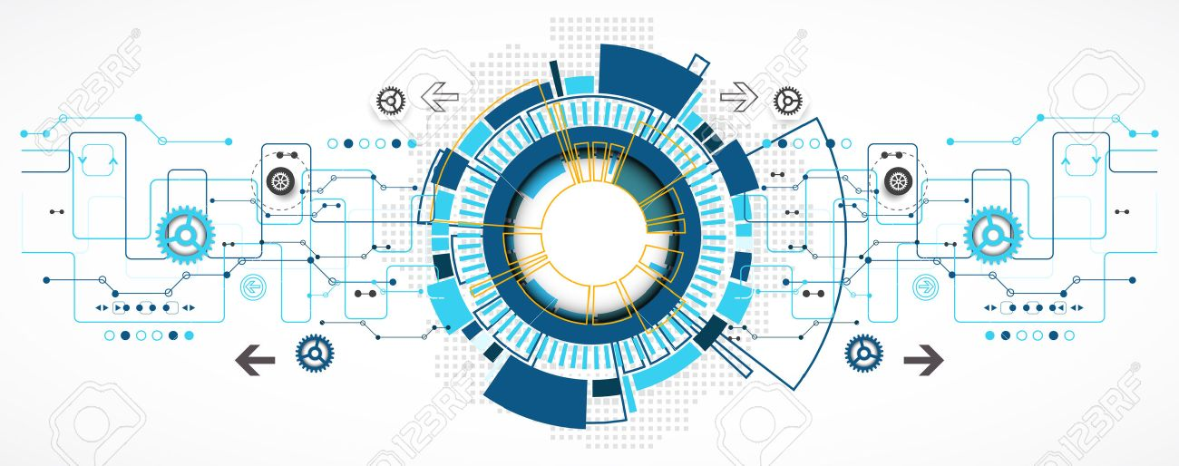 Abstract technological background with various technological elements. Structure pattern technology backdrop. Vector Stock Vector - 46601911