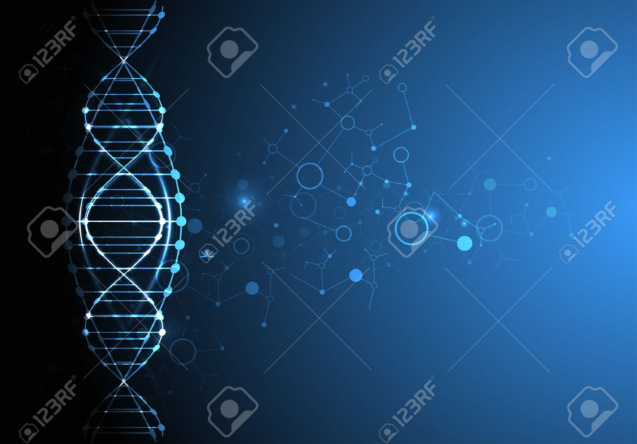 Science template, wallpaper or banner with a DNA molecules. Vector illustration. - 51427477