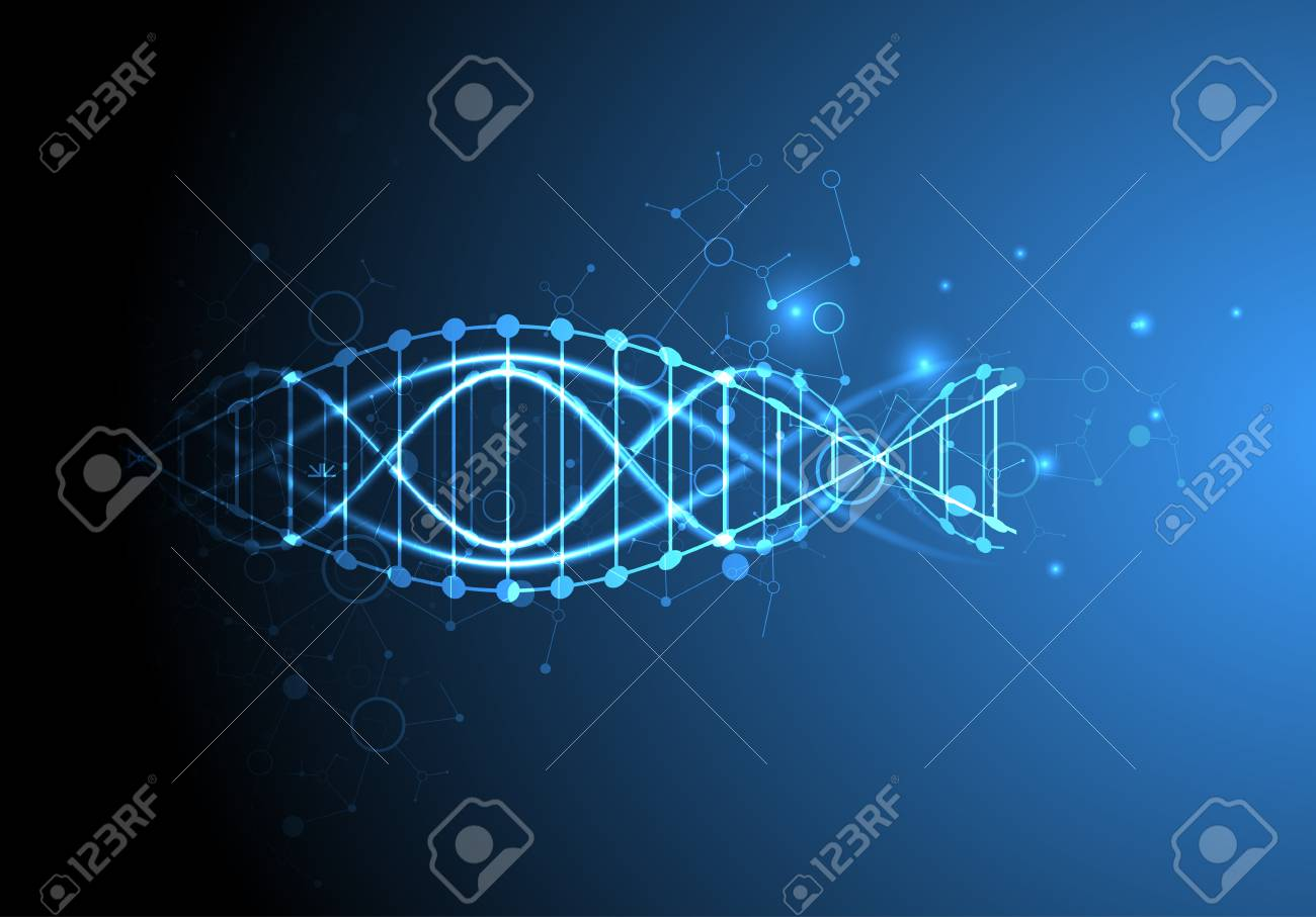 Science Template Wallpaper Or Banner With A DNA Molecules Vector Illustration Stock