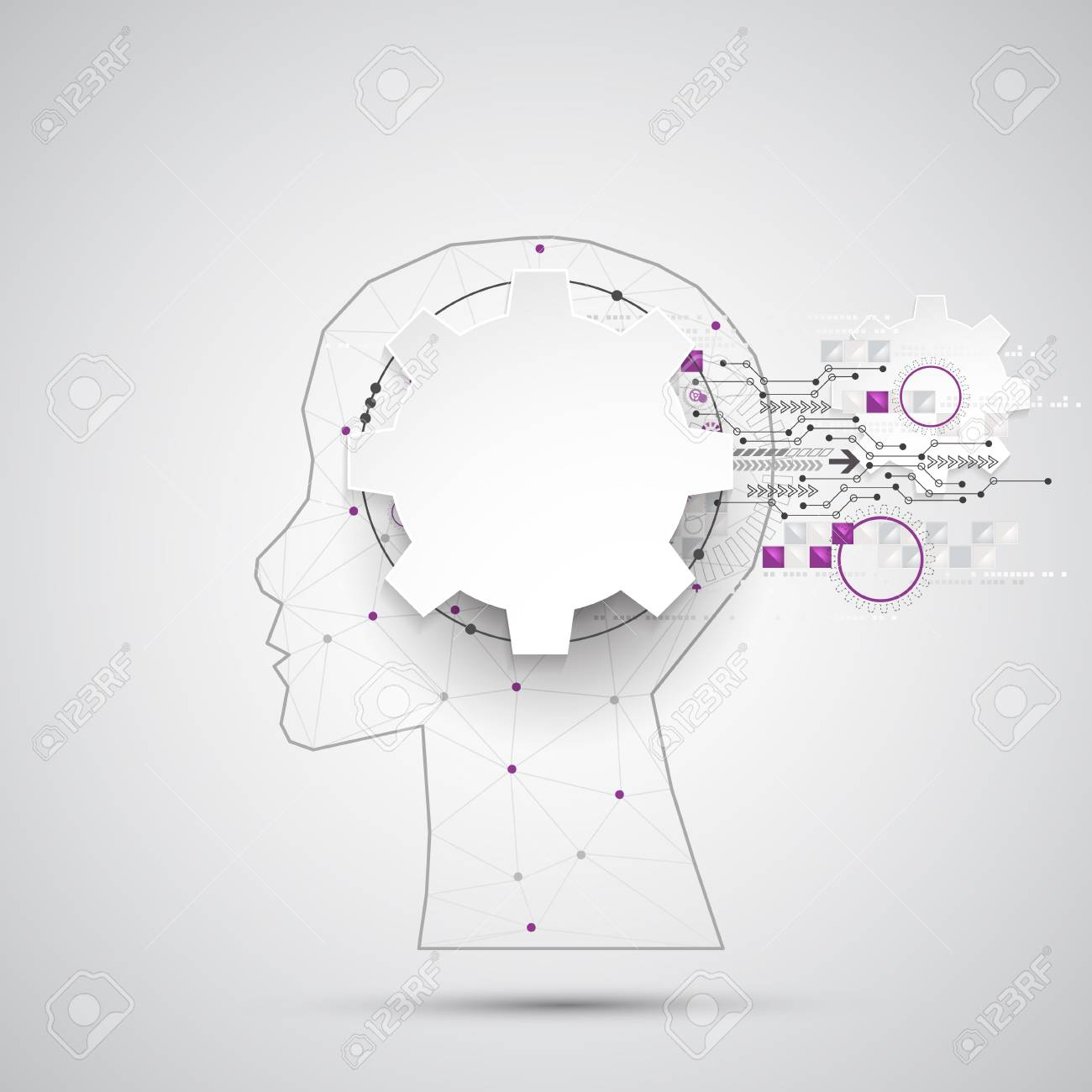 三角形格子と創造的な脳概念の背景人工知能の概念ベクトル科学