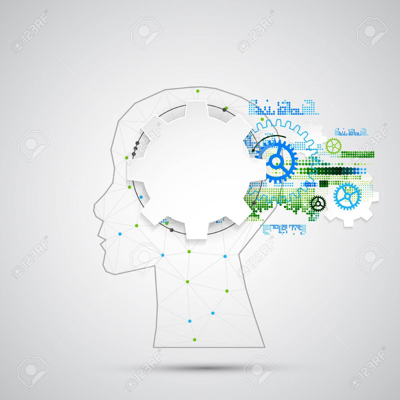 Creative brain concept background with triangular grid. Artificial Intelligence concept. Vector science illustration - 54789256