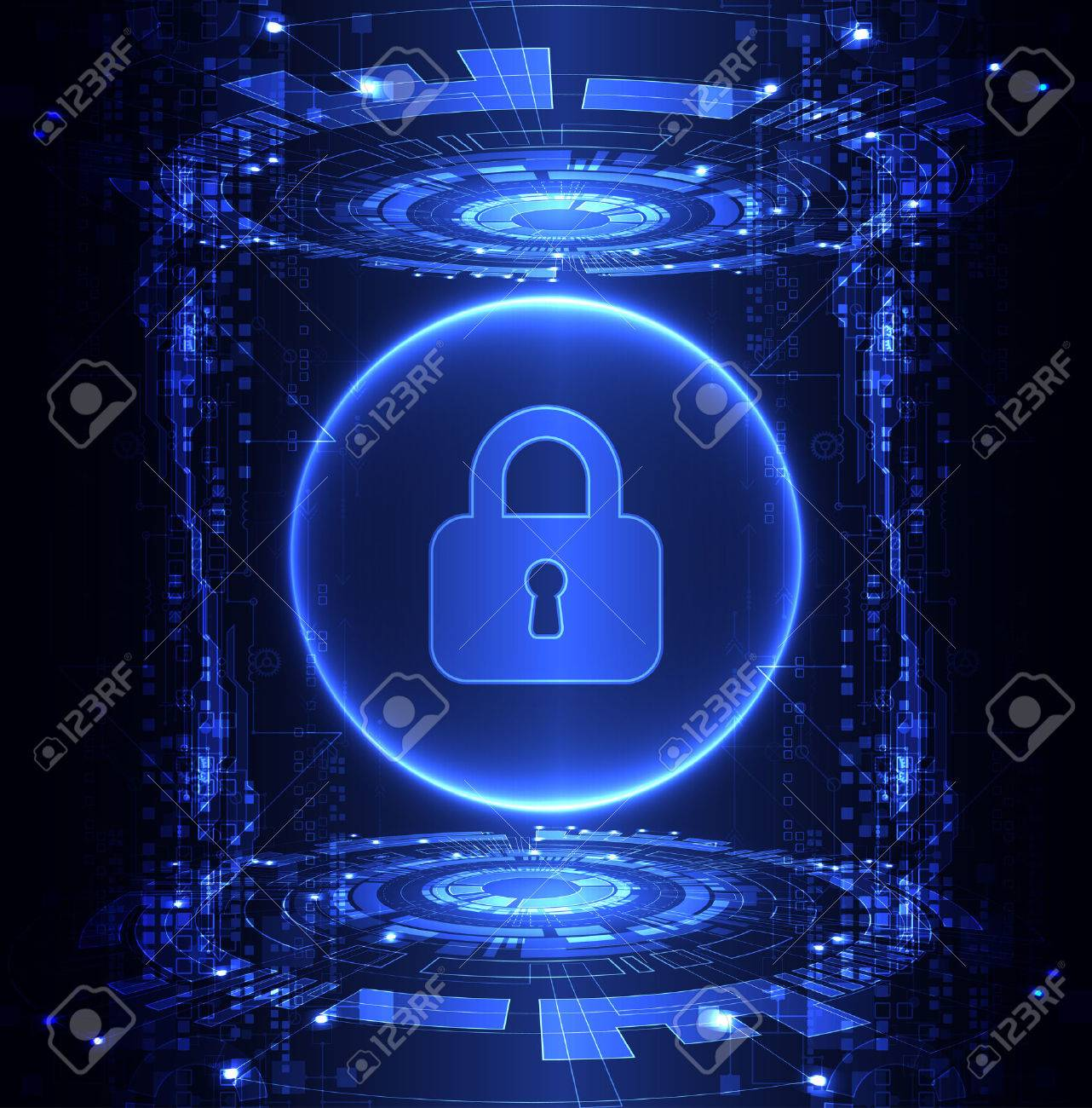 Protection concept of digital and technological. Protect mechanism, system privacy, vector illustration - 56575878