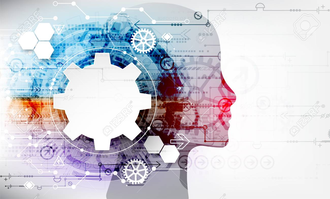 Creative brain concept background. Artificial Intelligence concept. Vector science illustration. - 90414221