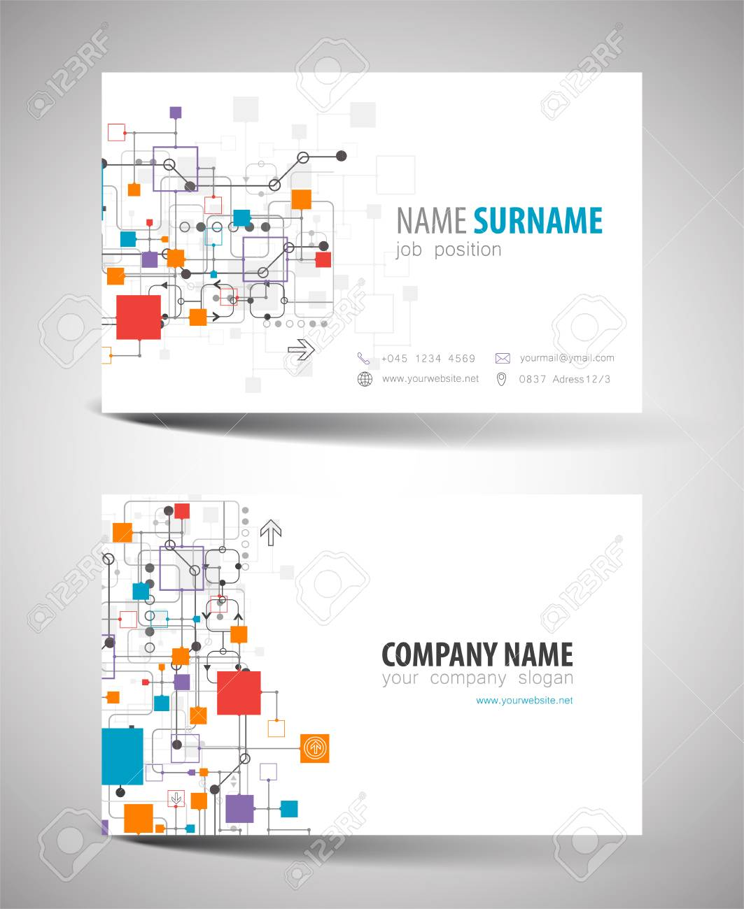 Creative Doublesided Business Card Template Vector Royalty Free - Double sided business card template