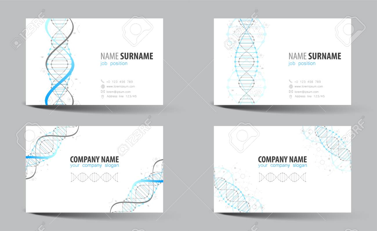 Creative Double-sided Business Card Template. DNA Theme. Vector ...