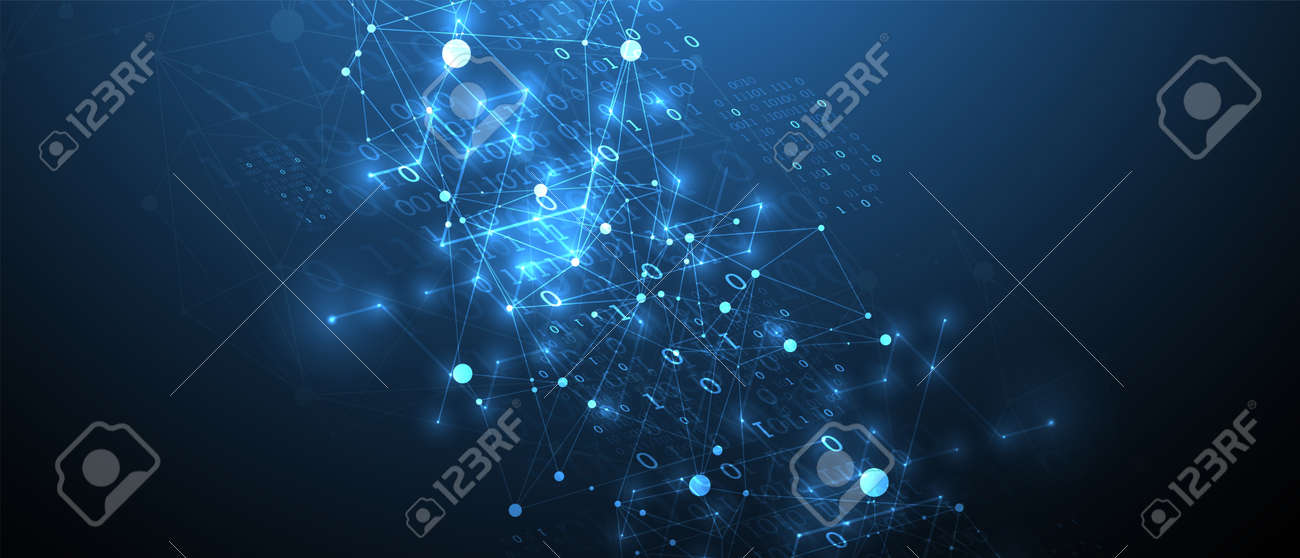 Technology background with plexus effect. Big data concept. Binary computer code. Vector illustration. - 149392245