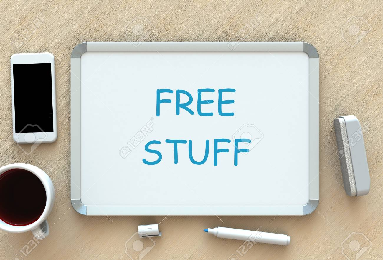 Free Stuff, message on whiteboard, smart phone and coffee on