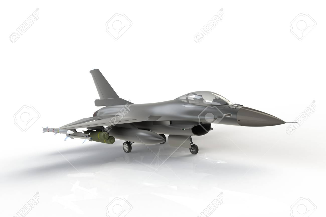 F16, american military fighter plane on white background, 3D