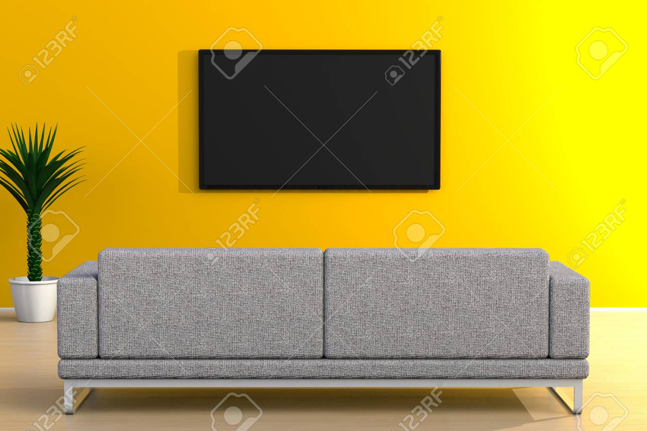 Interior Of Empty Room With Tv And Sofa Living Room Led Tv On Stock Photo Picture And Royalty Free Image Image 120472441
