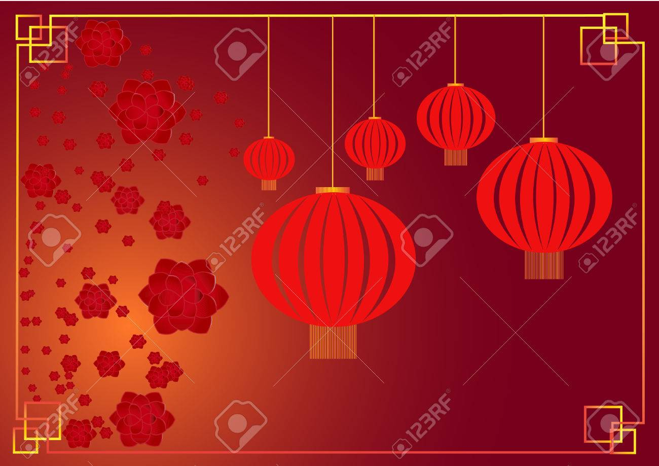 cherry blossom with chinese lantern chinese lunar new year template vector stock vector 41841522