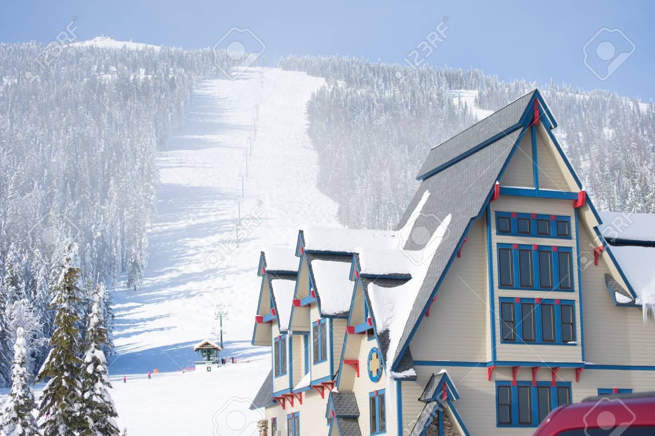 view of ski hill. mt. spokane ski hill. stock photo, picture and
