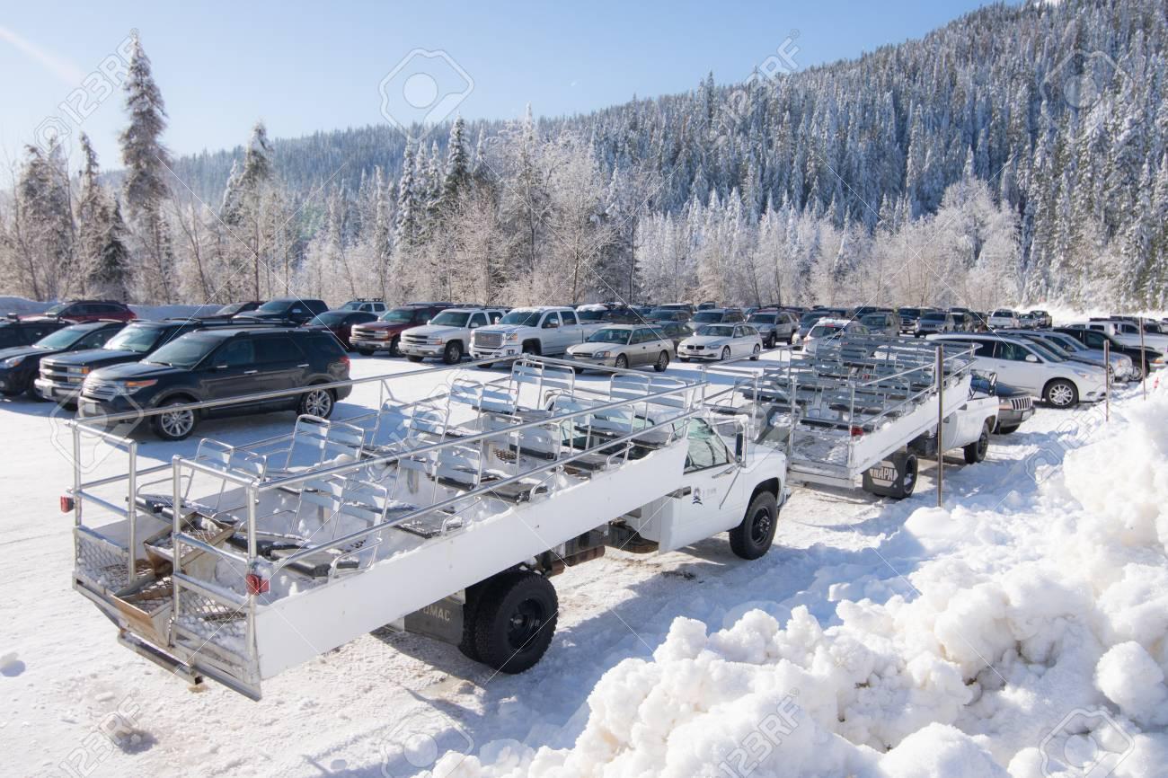 snowy mountain ski resort. mt. spokane. stock photo, picture and