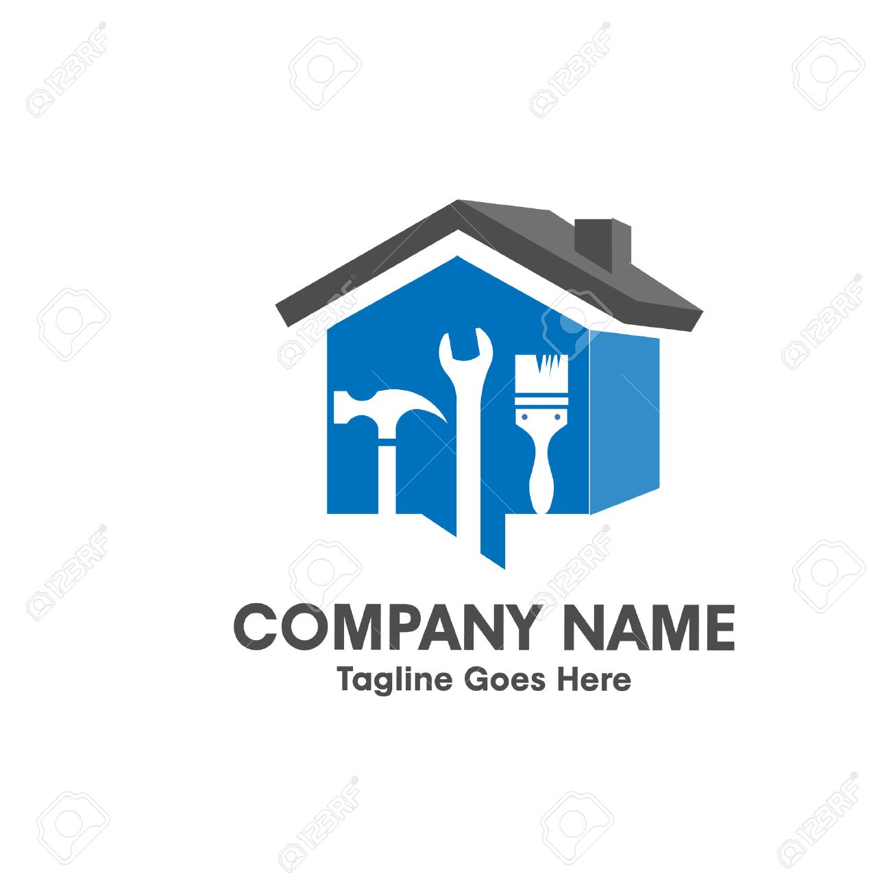 Home repair emblem with tool and symbol of a 3d house logo - 54448735