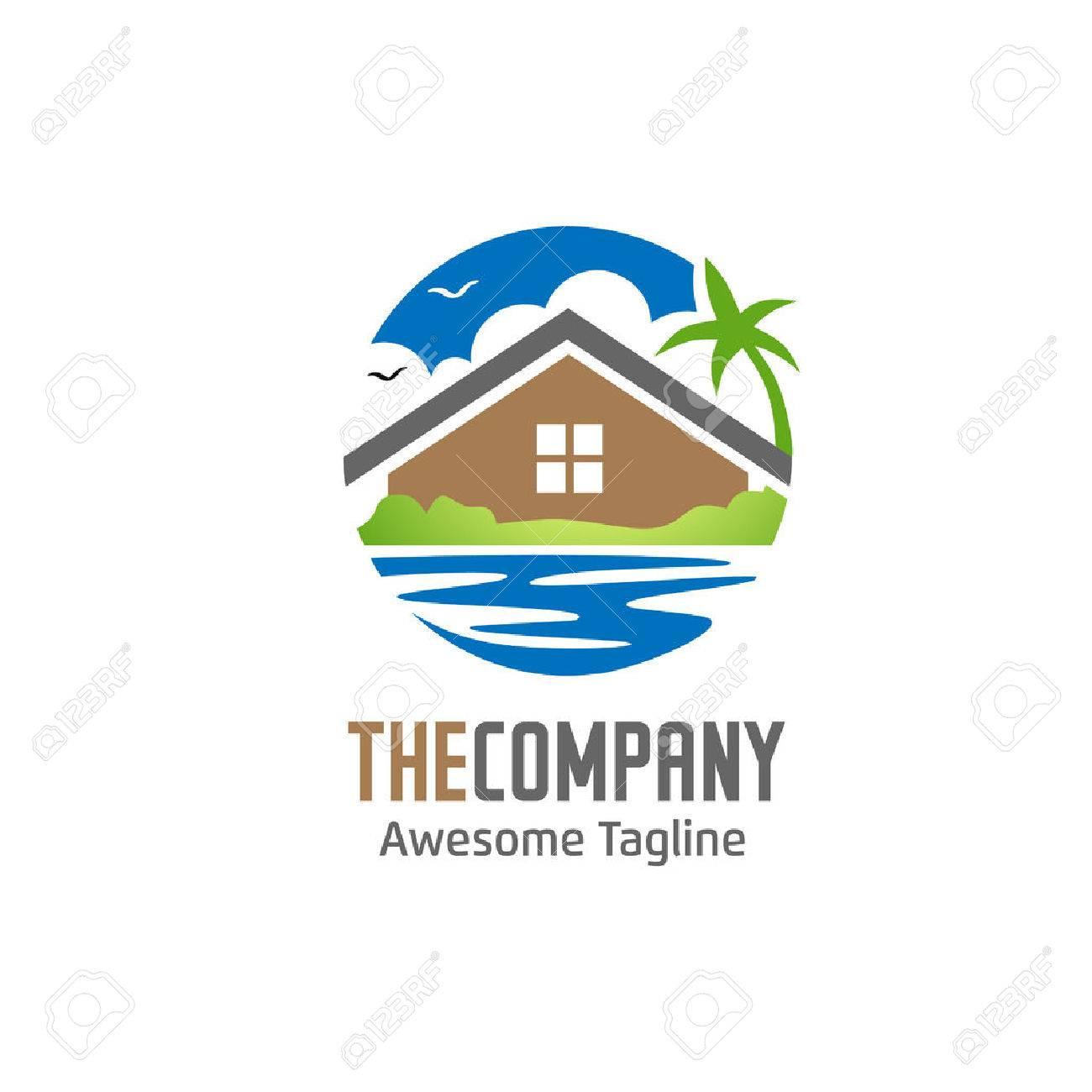 Green Hous, Villa And Lake Logo Stock Vector   56620750