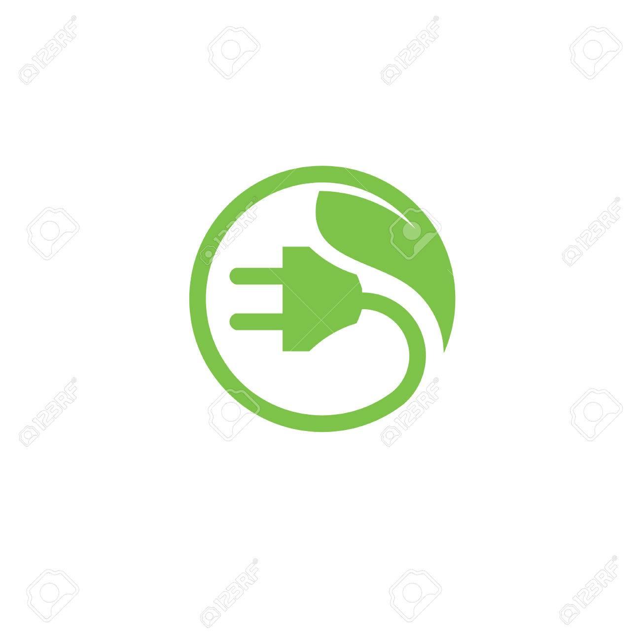 Green Energy Electrical Plug. Eco Energy Power Logo Circle Abstract ...