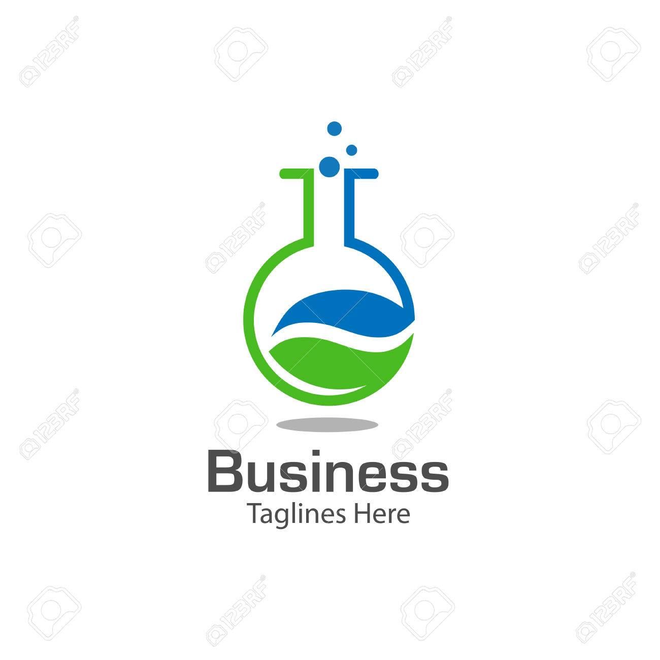 Logotipo De Laboratorio Con Símbolo De La Hoja, Tubo De Ensayo De ...