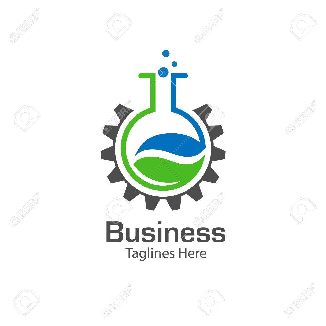 lab logo with leaf and gear symbol , colored test tube with fresh