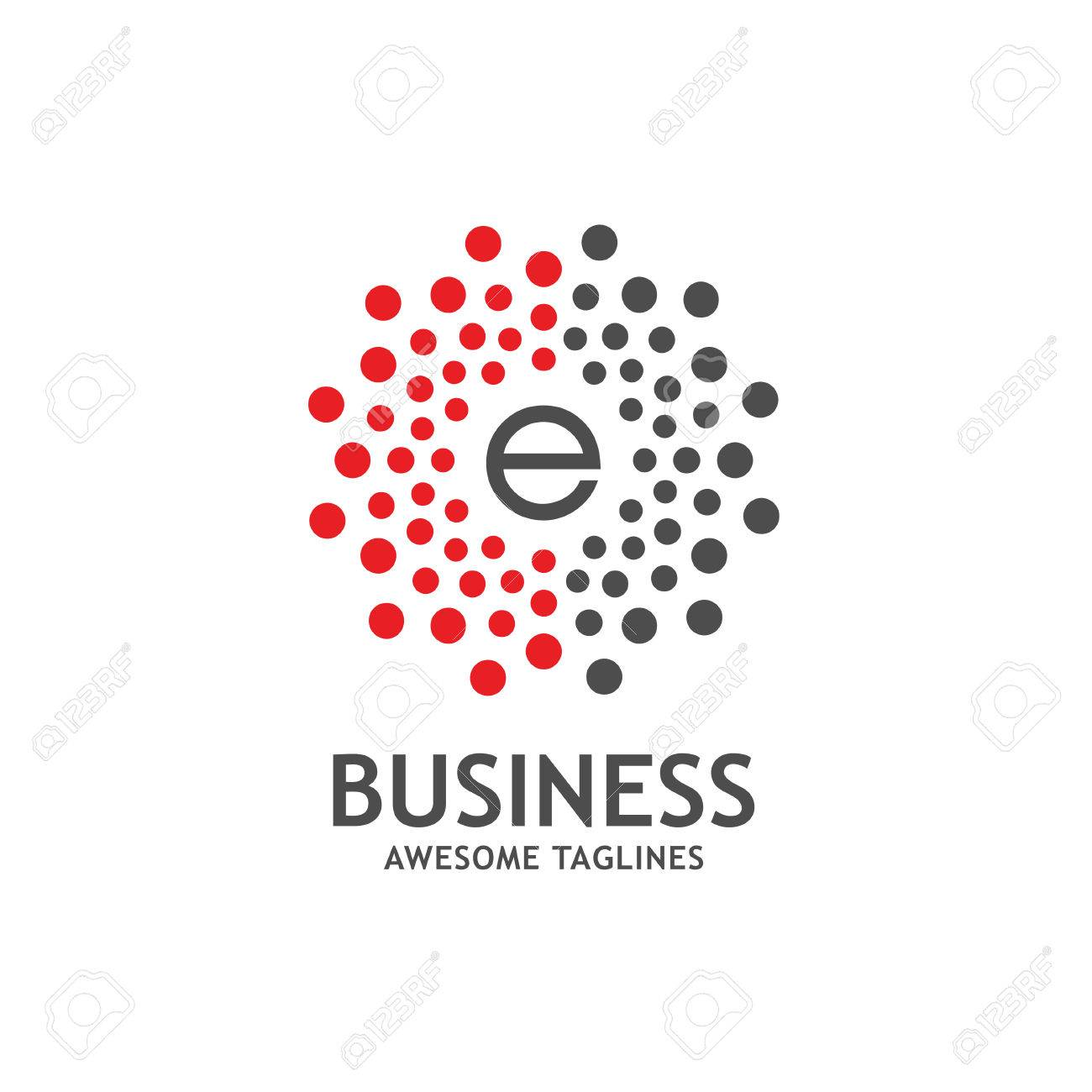 Capital Letter E With Dotted Vector Circle Frame, Dot Pattern ...