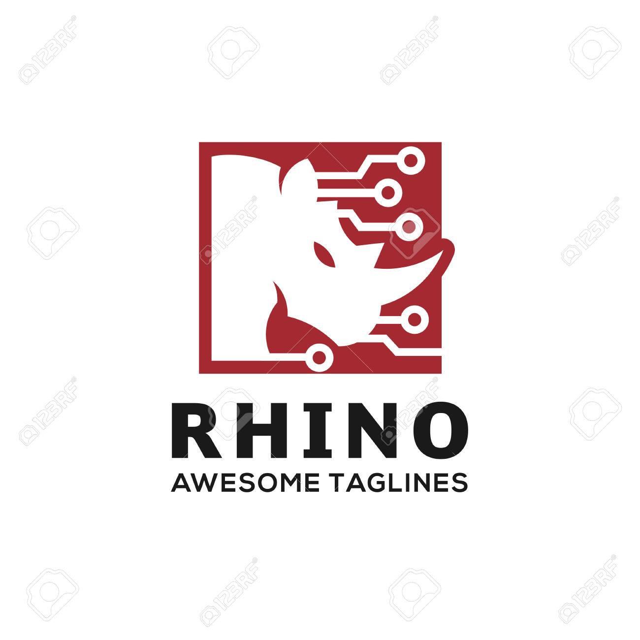 rhinoceros rhino logo rhino techno logo business template