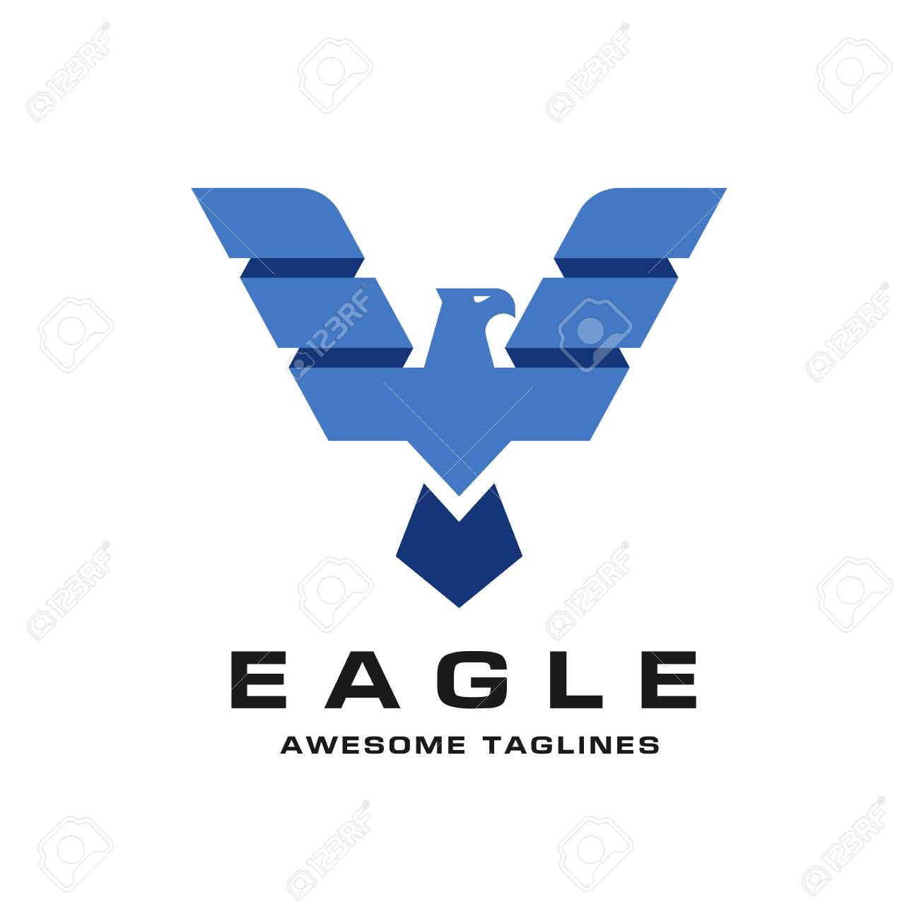 eagle with creative wings logo design template illustration royalty
