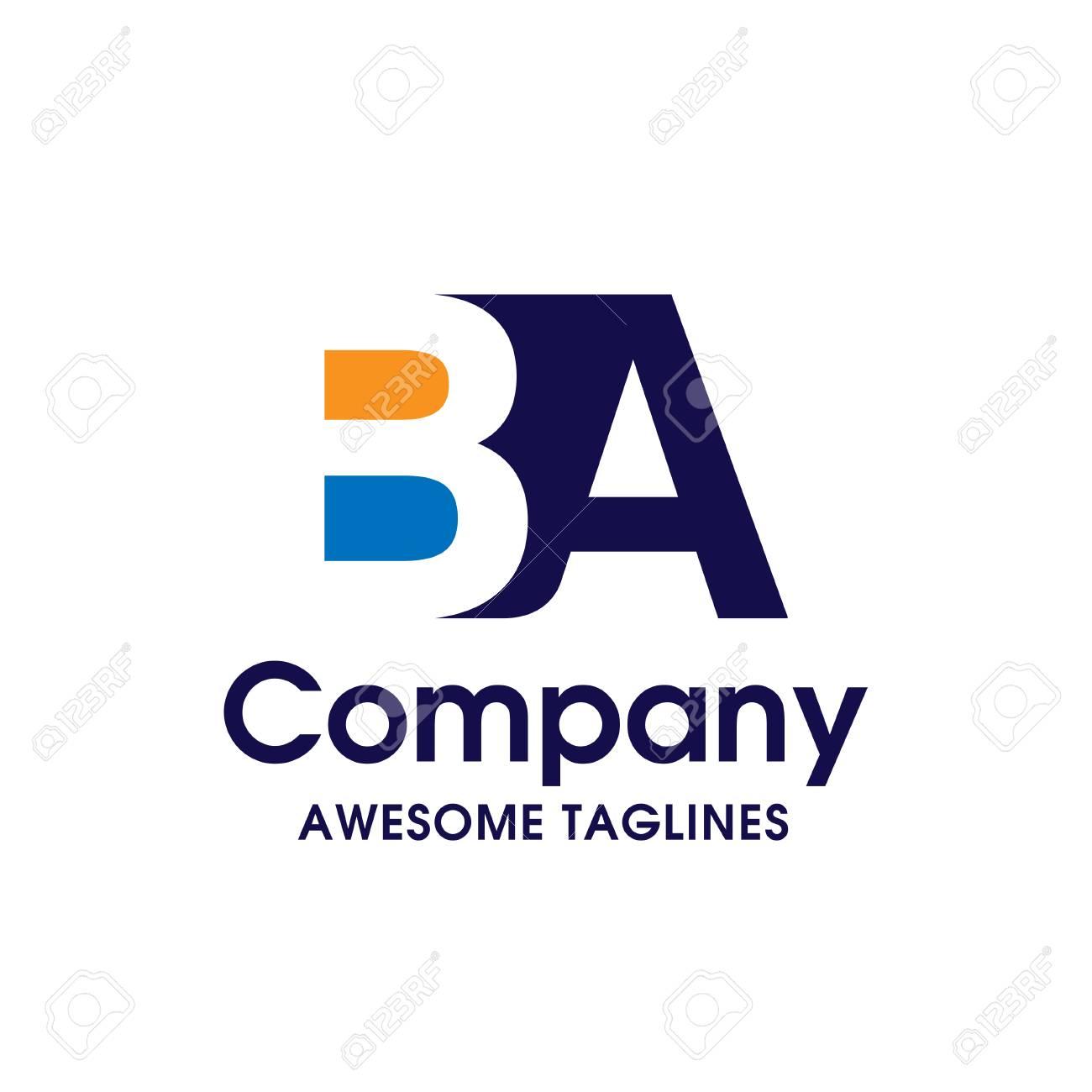 Creative Letter BA Logo Design Elements Simple LogoBusiness Corporate